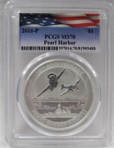 2016-P Tuvalu Pearl Harbor Anniv. Commemorative $1 Dollar PCGS MS70 Coin AJ673