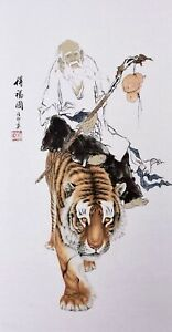 ORIGINAL ASIAN ART CHINESE FAMOUS FIGURE WATERCOLOR PAINTING-Dharma&Tiger King