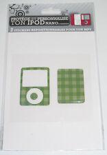 Kit Protection et Personnalisation pour Ipod Nano Carré Ecossé Vert NEUF