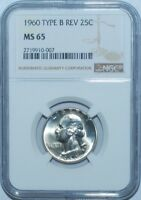 1960 NGC MS65 FS-901 Type B Reverse Washington Quarter