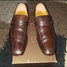 A Genuine Men's Gucci Loafers Leather Shoe Brown Colour, Size 9.5/43.5