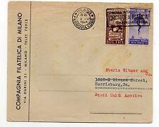 STORIA POSTALE 1949 REP.BIENNALE+SANITA' L.20+20 SU LETTERA DA MILANO6/7 D/8541