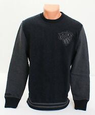 Mitchell & Ness NBA New York Knicks Black Cotton Leather Trim Sweatshirt Men's