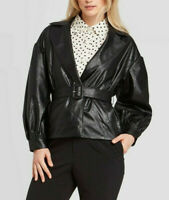 Who What Wear Women's Faux Leather Belted Blazer Jacket, Black, Size M, $50, NwT