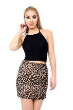 Womens Skirt Printed Ladies Stretch Elasticated Jersey Short Mini Skirt 8-24 New