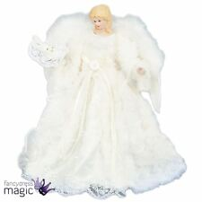30cm Deluxe Tree Topper Top White Angel Fairy Christmas Xmas With Feather Wings