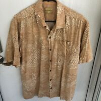 Mens medium Tommy Bahama short sleeve button up shirt salmon colored fish design
