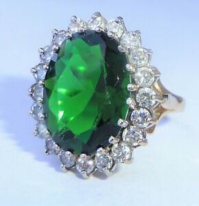 Large 9ct Gold Green & White CZ Cocktail Ring, Size M, Diana Style