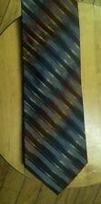 ROUNDTREE & YORKE Diagonal Striped Hand Made 100% Silk Extra Long Tie Necktie