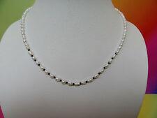 PERLENKETTE mit EXTRA FEINE Spinel Kristalle mit TOP GLANZ 44 cm Schlisse Silber