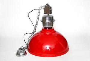 Pendulum Industrial Light Red Lamp from Metal Vintage Retro Factory Loft
