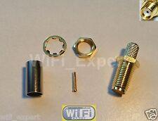 1 x Sma Bulkhead Female pin crimp Rg58 Rg142 Rg400 Lmr195 cable Rf Connector Usa