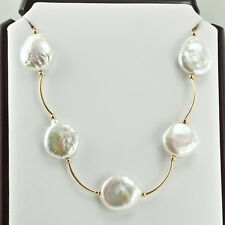 BEAUTIFUL NECKLACE 14K YELLOW GOLD & WHITE NATURAL COIN PEARL 36 INCHES