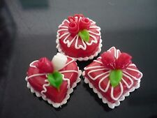 3 Mini Red Cake Rose Top Dollhouse Miniatures Food Deco Bakery Valentine Day 1