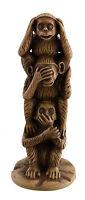 Statuetta Torre Dei 3 Scimmie Da La Saggezza di Resina Marrone Beige Iarda Saggi