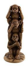 Statuette tour des  3 Singes de la Sagesse resine marron beige -trois sages 5129