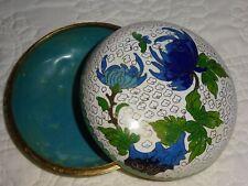 """Vintage Cloisonne 4"""" Trinket Bowl Lid White Blue Fuji Mums Leaves Aqua Inside"""