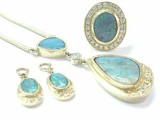 Fine Boulder Opal Diamond Yellow Gold Set Necklace/Ring/Charms 14Kt