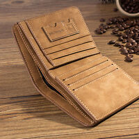 New Men PU Leather ID Credit Card Holder Clutch Slim Bifold Wallet Purse
