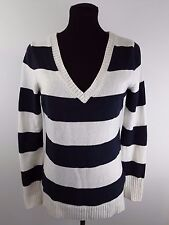 Womens Gap Sweater Small Blue White Striped V Neck Longsleeve