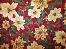 Vtg Christmas Fabric HOFFMAN JAPAN Cotton Beige Scarlet Red Poinsettia BTY 45w