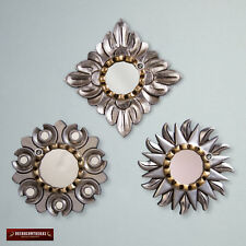 Handcarved Wood Sunburst mirror wall set 3, Silver & Gold Round mirror for wall