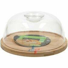 Round 18cm Cheese Board With Cover Made From Bamboo Plastic Cloche Serving