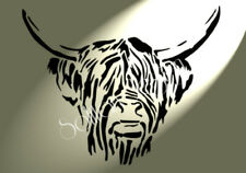 Shabby Chic Highland Cow head plastic Stencil sheet A4 297x210mm Wall art Des F