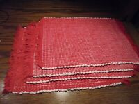 """Set (4) Table Placemats Red & White Weaved w/Fringe~ 11""""x16"""" Home Decor     59"""