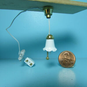 Dollhouse Miniature 12v Electric Tulip Hanging Ceiling Light White Shade MH635