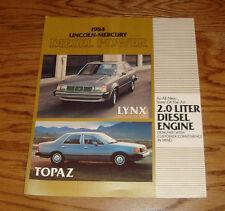 Original 1984 Lincoln Mercury 2.0 Diesel Engine Sales Brochure 84 Lynx Topaz