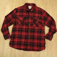 FIELD & STREAM men's thick flannel camp shirt 2XL red herringbone plaid buffalo
