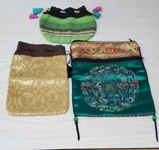 3 Cosmetic Bags. The Larger Was Made In Nepal And Has A Zippered Compartmant