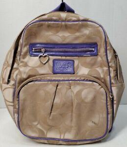 Coach Poppy Daisy Signature Backpack Khaki With PURPLE Leather Trim F20046 FAIR