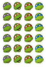 24 x Teenage Mutant Ninja Turtle Heads TMNT Edible image cupcake toppers Pre-Cut