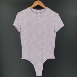 Victoria's Secret Women's Small Short Sleeve Bodysuit Palm Print Thing Purple