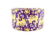 """3"""" Wide Purple and Yellow Digital Camo Printed on Grosgrain Cheer Bow Ribbon"""