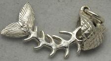 3D si muove argento Sterling Charm Osso di Pesce