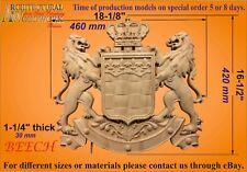 Wood carved Lion Crest Coat of Arms