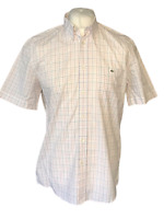 Men's Lacoste Casual Shirt White Pink Check Size 40 Large 100% Cotton S/S