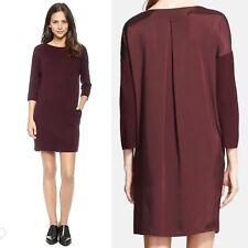 $395 Vince. Women's Medium Burgundy Wool 3/4 Sleeve Sweater Shift Dress Pockets