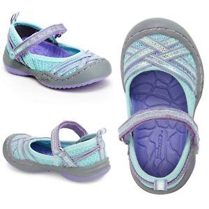NWT $45 JAMBU Fia Mary Jane Toddler Girls Glittery Mesh Shoes Blue/Purple Size 6