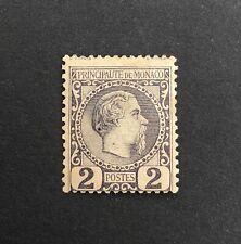 Monaco 1885 MINT Prince Charles 3rd, No Gum. Slate Purple, SG2