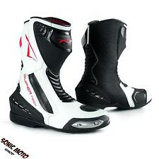 Stivali Stivaletto Moto Sportivo Pelle Pista Professionale Traspirante bianco
