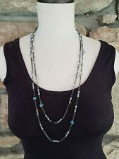 INC Hematite Tone Silver AB Crystal Long Layering Strand Necklace Retail $39.50