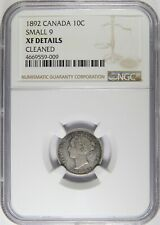 1892 Canada Silver 10 Cents Small 9 NGC XF Details 10c