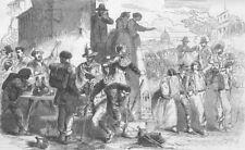 ITALY. Volunteers leaving Rome, antique print, 1859