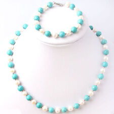 Genuine natural 7-8mm White Pearl & 8mm Blue Turquoise Necklace Bracelet Set