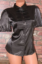 Shiny sleek faux chocolate brown satin shirt blouse top size 12