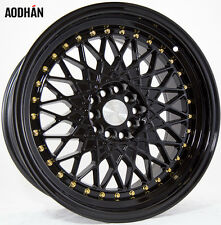 AODHAN AH05 17x9 5x100 / 5x114.3 +25 Full Black (Gold Rivet) (PAIR) wheels